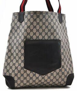 Authentic GUCCI Sherry Line Shoulder Tote Bag PVC Leather Blue 0809A