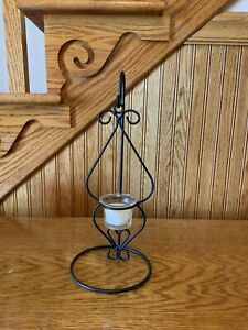 Vintage Metal Tea Light Hanging Candle Holder With Stand. Black. Excellent.