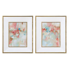 Soft Pastels Abstract Modern Wall Art Pair | Pink Peach White Feminine Painting