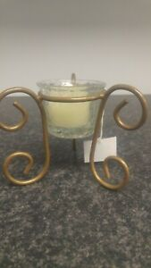 Decorative candle in cracked glass swirl holder in box bn