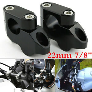 "2pcs 7/8"" Motorcycle Handlebar Extension Back Moved Up Handle Bar Risers + Bolts"