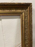 35x42cm 6F Cadre Bois et Stuc Doré XIX Ancien Peinture Napoleon III Gold Frame