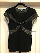 LIL ANTHROPOLOGIE Black Rayon Knit Sleeveless Lace Trim Top, Medium