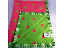 Jack Rabbit Creations Pink Green Polka Dot Baby Blanket 2004 Green Satin Trim