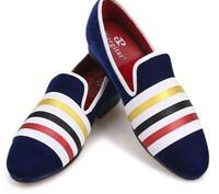 Mens Color matching velvet handmade round toe slip on Loafers formal flat shoes