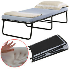 Single Portable Folding Bed W/ Memory Foam Mattress Cot Sleeper Roll Away Guest