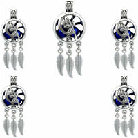 (5pcs Pack) K761 Silver Tone Dream Catcher Moon Fairy Beads Cage Locket