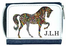 Personalised Denim Purse With Unusual Colourful Patterned Horse Design