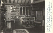 Log Cabin Interior Island Lake Hebron Piscataquis County ME Real Photo Postcard
