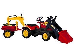 Kinder Traktor m. Anhänger u. Baggerschaufel Bulldog Tretbulldog Frontlader neu