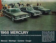 1968 MERCURY Brochure: MONTEGO,MX,COUGAR,GT,XR-7,GT+E,CYCLONE,PARK LANE,MARQUIS,