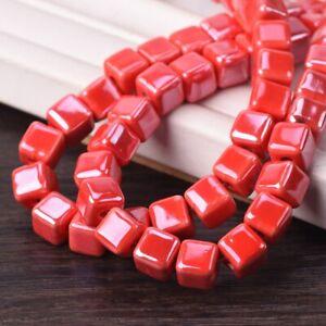20pcs Shiny Glazed 8mm Cube Ceramic Porcelain Loose Beads for Jewelry Making