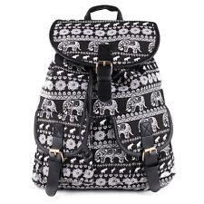 Rucksack Shopper Schul Tasche Canvas Stoff Elefanten Schulter Backpack Prints
