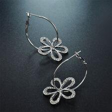 Silber beschichtet Ohrhänger besonders Blumen Kreolen aus Strass mit groß Reif