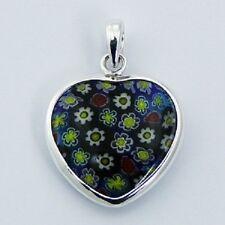 Murano Glass Sterling Silver Pendant Heart 925 Hallmarked Handmade 29mm Fashion