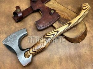 TITANs Handmade High Carbon Steel Viking Axe Hunting Camping Amazing Gift 46cm