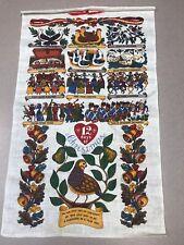 New listing Vintage Linen Kitchen Hand Tea Towel 12 Days of Christmas Kay Dee Twelve Estate