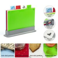 5pc Chopping Board Set INDEX Colour Coded 4 Non Slip Cutting Boards Mats + Stand