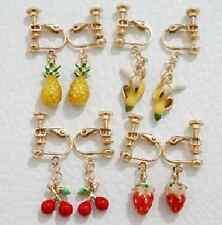 E912 Betsey Johnson Fruit Banana Cherry Pineapple Strawberry Clip Earrings US