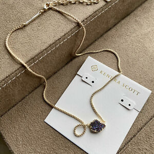 Kendra Scott Tess / Small Pendant Necklace Gold multicolor drusy NEW