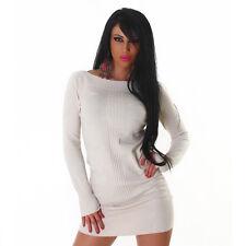 Sexy Kleid Minikleid Longpullover Pulli Pullover Beige Struktur L XL
