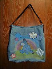 """13"""" x 16"""" Eeyore Silkscreen Denim Shoulder School Book Rainbow Bag"""