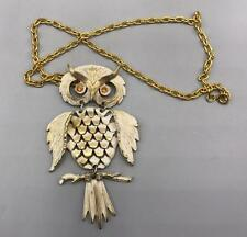 Vintage Owl Goldtone & Painted Necklace Jewelry