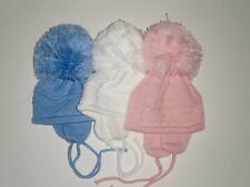 BABIES LARGE POM POM HAT BOYS-GIRLS from 0-3 MONTHS WHITE PINK BLUE