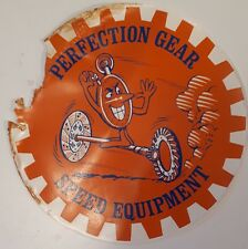 "VINTAGE RARE ""PERFECTION GEAR""  DECAL-ADHESIVE BACKING NO LONGER PRESENT-DAMAGED"