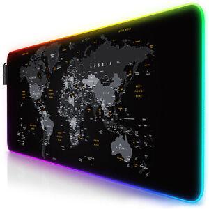 Titanwolf WELTKARTE RGB Gaming Mauspad 800 x 300 x 4mm XL Format LED Multi Color