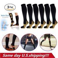 3 Pairs Copper Infused Socks Anti Fatigue Compression 20-30mmHg Black UNISEX US