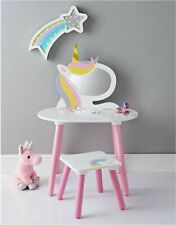 Children's Kids Wooden Unicorn Vanity Dressing Table Set With Mirror & Stool