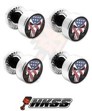 4 Silver Billet Aluminum License Plate Frame Tag Bolts - PUNISHER SKULL USA NTT