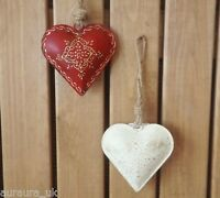 Hand Painted Christmas Tree Decoration Metal Tin Hanging Heart Jute Red or Cream