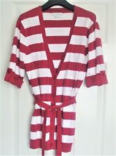 VAN HEUSEN WHITE & RASPBERRY STRIPED TIE WAIST CARDIGAN ~ SIZE LARGE ~ WORN ONCE