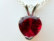 2.25ct RED RUBY HEART PENDANT CHAIN 925 STERLING SILVER USA MADE