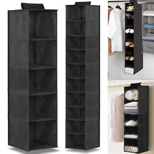 Hanging Wardrobe Storage 5 or 10 Tier Garment Shoe Organiser Clothes Tidy Drawer