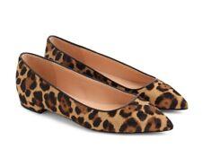 J. Crew Pointy Toe Flat In Leopard Calf Hair Women's Size 6.5
