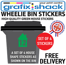 x4 WHEELIE BIN NUMBERS CUSTOM GREEN HOUSE SHAPE STICKERS WITH YOUR NUMBERS