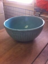 """Vintage Blue/Green 9"""" Pottery Bowl with Ribbed Design"""