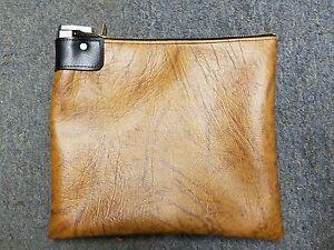 1 Brown Vinyl Locking Bank Deposit Bag with Deluxe Pop Up Lock and 2 Keys