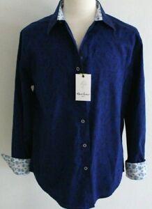 Robert Graham Hanging Gardens Mens Blue Long Sleeve Paisley Shirt - Large