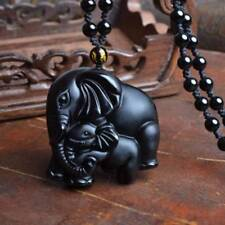 Black Obsidian Hand Carved Cute Elephant Lucky Pendant Beads Necklace