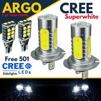 H7 Cob Cree Led Smd Super White Headlight Headlamp Main Dipped Beam + 501 Bulbs