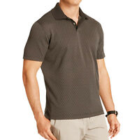 New Van Heusen Men Traveler Patterned Polo Quick Dry Performance Brown MSRP $50