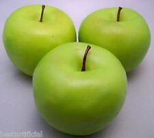3 Best Artificial Large Green Apples Decorative Realistic Plastic Fruit Bowl