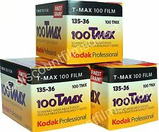 3 x KODAK TMAX 100 35mm 36exp  B&W CAMERA FILM  FRESH - by 1st CLASS POST