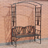 Metal Garden Arch with 2 Seater Bench Black Steel Arbor Patio Outdoor Lawn Seat