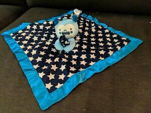 Old Navy Blue Monster Alien White Stars Baby Boy Security Blanket Lovey Satin