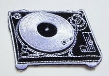 Black Turntable and Record Player Embroidered Iron on Patch Free Shipping